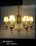 Crystal Drop Embossing Fabric Shade Pendant Chandelier Lights for Living Room