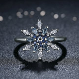 925 Sterling Silver Crystalized Snowflake CZ Finger Rings para Mulher Jóias e Brand New Hot Collection 925 Sterling Silver Snowflake Blue Crystals Ring Jewelry