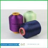 Hilados de polyester teñidos droga del 100% DTY 150d 48f Nim para la producción casera de la materia textil