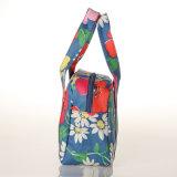 Blaues wasserdichtes Belüftung-Segeltuch-Blumenmuster-Dame Handbag (99184-2)
