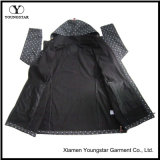 Ys-1067에 의하여 Microfleece 인쇄되는 까만 방수 Breathable 여자의 두건이 있는 Softshell 재킷