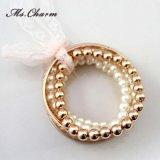 Brazaletes plateados oro de imitación de las pulseras del grano de la perla fijados