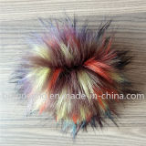 良質の偽造品のアライグマの毛皮の球の銀製Fox Keychainののどの毛皮の球