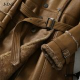 Type de Shearing Leather Coat Long de Madame