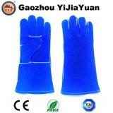 Blaue Rindleder-aufgeteiltes Leder-industrielle Handsicherheits-Schweißens-Arbeits-Handschuhe
