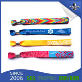 Wristband tejido festival ajustable del paño de la aduana con la insignia impresa