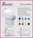 Toilette d'une seule pièce verte colorée de Siphonic de bouton duel en céramique