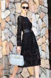 Haute Douture süsses kultivieren Wind-Schwarz-dreidimensionale Blumen der Frauen reizvolles Spitze-Kleid