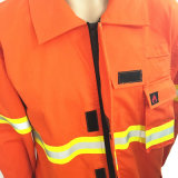 Workwear azul alaranjado vermelho uniforme das combinações do cal da segurança com fitas reflexivas
