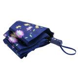 花プリント青いカラー自動車の開いたフォールドの傘