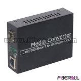 10/100 / 1000m SFP de fibra óptica Media Converter 155m o 20 kilometros 1,25 g