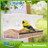 Alimentador de acrílico del pájaro de la ventana del claro superior de la calidad con la bandeja movible