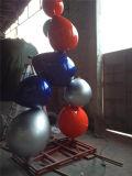 Скульптура комбинации воздушного шара нержавеющей стали, напольная скульптура металла сада