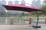360度の回転を用いる最もよい10のFT正方形アルミニウムオフセットの片持梁傘、屋外のハングの傘および縦の傾き、250のGSMの紫外線抵抗力があるポリエステル、タン