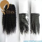 Естественный черный бразильский Kinky курчавый уток человеческих волос