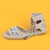 Il nuovo colore rosa del fiore della punta di pigolio di arrivo merletta in su i sandali delle scarpe di tela