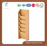 Cremalheira de madeira fixada na parede da literatura 5-Pocket