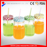 Wholesale Cheap Custom Knell Mason Gander with Metal Lid and Straws