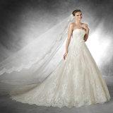 에이라인 신부 드레스 레이스는 구슬로 장식한다 빈 뒤 결혼 예복 (Vt10006)를