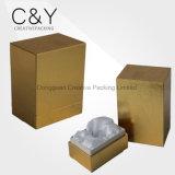 Caixa real do perfume do couro do ouro no núcleo do MDF