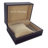 Славные Handmade роскошные черные кожаный коробки ювелирных изделий для ювелирных изделий венчания