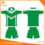 Healongのスパンデックス材料は印刷のサッカーのジャージーのワイシャツの摩耗セットを昇華させた
