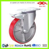 150mm 피마자 바퀴 (P160-46F150X50S)를 잠그는 빨간 PU 회전대
