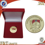 Изготовленный на заказ Award Commemorative Die Struck Round Fake Gold Coins с Velvet Box