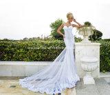 등이 없는 레이스 신부 드레스 스파게티 인어 해변 결혼식은 Z2028를 옷을 입는다