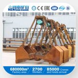 Hydraulische Maschinenhälften-Wannen-obenliegender Zupacken-Kran für das Handhaben des Massenmaterials