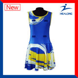 Netball Jersey de Sublimtion dos uniformes do Netball de Healong