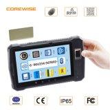 Sistema do comparecimento do tempo da impressão digital com o varredor do código de barras de RFID