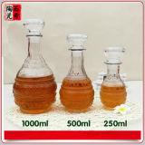 700ml vident la bouteille d'eau-de-vie fine avec le décanteur en aluminium en verre de chapeau