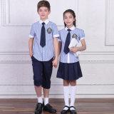 2016 nuevos uniformes escolares primarios por encargo internacionales a granel del diseño 100%Cotton con la funda del cortocircuito de la verificación