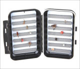 Os lados do dobro Waterproof a caixa plástica da mosca da pesca
