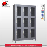 Uso comercial Deep Grey Color 9 Mesh Door Metal Locker