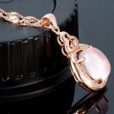 Pendente Necklacet do ouro de Rosa da pedra do hibiscus das mulheres com corrente