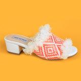 slittamento aperto della rafia della punta del METÀ DI tallone 2017fashion sui sandali delle donne