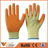 Перчатки сада высокого качества желтые продают дешевой перчатки оптом безопасности латекса покрынные ладонью