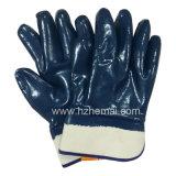 Entièrement 3 ont plongé le gant de sûreté de travail classé par huile bleue de nitriles (HCN450)