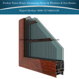 Aluminio de cristal de madera Windows de desplazamiento de la capa doble de la pista del grano 2