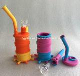 Couleurs en verre de la conduite d'eau de mini de silicones de tambour pipe en verre de conduite d'eau sept pour le choix