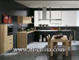 Gabinetes de cozinha de madeira da grão do lustro elevado moderno