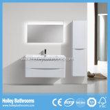 Armoire de toilette en bois blanc à haute brillance avec armoire latérale et lampe LED