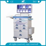 Carro médico movible de la carretilla del hospital aprobado de la ISO del Ce AG-At016 con las ruedas