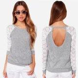 Le coton desserré de long de la chemise des femmes de mode de chemise chemisier occasionnel de lacet complète le T-shirt