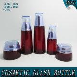 Бутылка нового контейнера способа глубоко - красного стеклянного Cream косметическая упаковывая