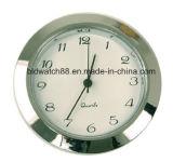 Часы круглого серебряного тона вставки движения кварца миниые с номерами