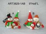"""10 """" Hx7.5 """" L regalo de la decoración de la Navidad de la familia de Santa+Snowman"""