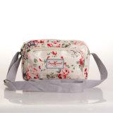 防水PVC花パターン白いキャンバスのCrossbody袋(99075)